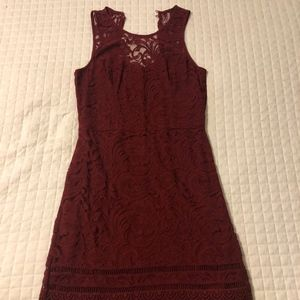 Hollister Maroon Lace Bodycon Dress